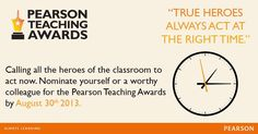Log on to www.pearsonteachingawards.in/apply-now to nominate yourself or your colleagues.