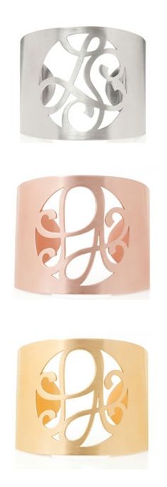 2-initial monogram cuff bracelets. I'll take one in each color please! http://rstyle.me/n/dcgs9n2bn