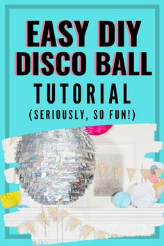 Every new year's eve party needs a sparkly ball. Our quick and easy DIY disco ball tutorial is the perfect solution and addition to your gathering. Fun Crafts, Diy And Crafts, Amazing Crafts, Fun Diy, Easy Diy, 50s Costume, Hippie Costume, Glitter Crafts, Electric Daisy Carnival
