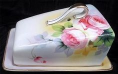 dome cheese dish | Beautiful 1910's Nippon Hand Painted Gold Rimmed Cheese Dome Dish