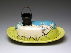 Chandra DeBuse: Cow with Milk Pail Butter Dish