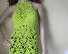 Sommer häkeln Top Neckholder Top Tanktop Crochet Bikini Top