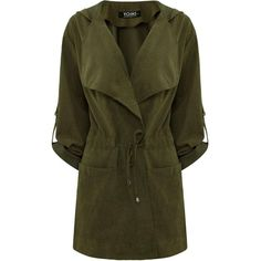 Yoins Yoins Green Hooded Drawstring Pockets Trench Coat (1.880 RUB) ❤ liked on Polyvore featuring outerwear, coats, coats & jackets, jackets, green, trench coat, drawstring coat, pocket coat, hooded coat and lapel coat