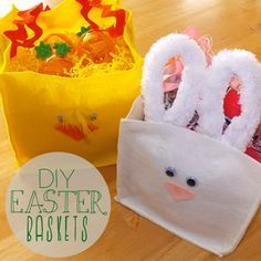 25 Cute and Creative Homemade Easter Basket Ideas - Page 3 of 5 - DIY & Crafts 5 Diy Crafts, Craft Stick Crafts, Creative Crafts, Holiday Crafts, Holiday Ideas, Felt Crafts, Holiday Decor, Do It Yourself Ostern, Homemade Easter Baskets
