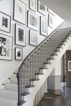 In love with this art gallery wall+ stairs by What do you think? Staircase Wall Decor, White Staircase, Stairway Decorating, House Staircase, Modern Staircase, Stairway Gallery Wall, Stair Gallery, Art Gallery, Flur Design