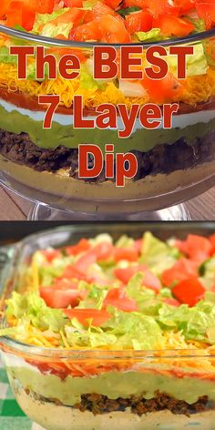 The Ultimate 7 Layer Dip recipe is packed with layers of Cream Cheese, Sour Crea. The Ultimate 7 L Mexican Dip Recipes, Bean Dip Recipes, Mexican Appetizers, Mexican Fiesta Food, Salad Recipes, Mexican Dips, Seafood Appetizers, Potluck Recipes, Seven Layer Taco Dip