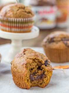 Nutella-Stuffed Brown Butter Pumpkin Chocolate Chip Muffins | Veggie and the Beast
