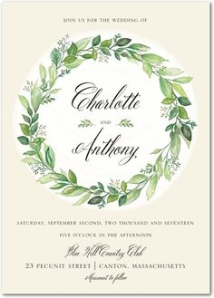 classic traditional wedding invitation with botanical wreat detail | watercolour illustration | customizable wedding invitation suities | new designs from Wedding Paper Divas | Captivating Wreath Wedding Invitations - shown in pistachio