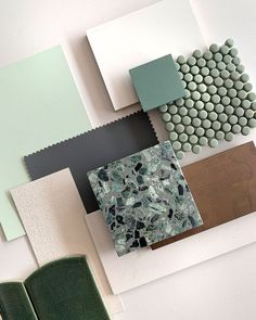 Design Crush 🤩 a moodboard of soothing greens and opulent textures by captured our attention! Featuring stunning terrazzo tiles from Mood Board Interior, Interior Design Boards, Material Board, Walnut Timber, Colour Board, Küchen Design, Colour Schemes, Color Combos, Accent Colors