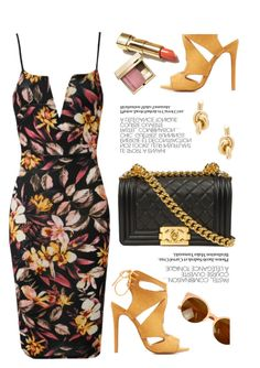 """""""Floral"""" by luvsassyselfie ❤ liked on Polyvore featuring Charlotte Russe, Balenciaga, Clarins, yellow and floral"""