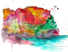 Print from original Watercolor and Pen Travel Illustration by Jessica Durrant titled Brights of Cinque Terre.