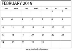 131 Best Free Printable February 2019 Calendar Template Images In 2019