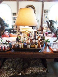 Bar set up in the home of designer Bunny Williams