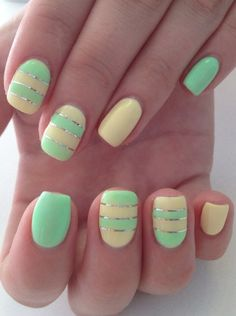 Beautiful nails 2016, Beautiful summer nails, Bright summer nails, Manicure by summer dress, Manicure by yellow dress, Mint lemon nails, Nail art stripes, Nails ideas 2016