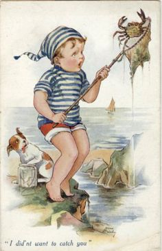 """I didn't want to catch you"" ~ by Nina K. Brisley ~ (seashore, ocean, boy, dog, crab, art, illustration)"