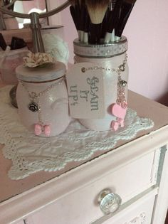 Mason Jar Makeup Organizer Makeup brush holder For Makeup Cosmetics  on Etsy, $34.00