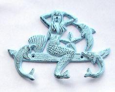 Cast Iron Mermaid Dolphin With 3 Hooks