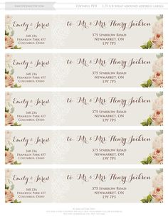 Printable Wrap Around Address Labels Editable Instant Download - Wedding invitation templates: wedding address label template
