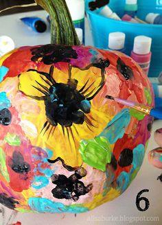 finger painted pumpkins
