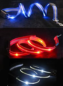 LED Lighted Dog Leash. Great for nighttime walks. wonder how difficult it will be to fix it when my light burns out.