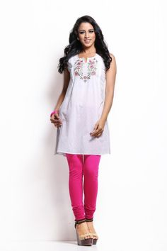 A white coloured kurta for women from Sabhyata. Made from cotton, this…