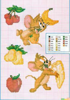 O ratinho Jerry brinca com frutas Disney Cross Stitch Patterns, Cross Stitch For Kids, Cross Stitch Books, Cross Stitch Animals, Cross Stitch Flowers, Counted Cross Stitch Patterns, Cross Stitch Embroidery, Tom Og Jerry, Stitch Cartoon