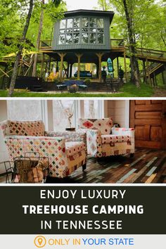 Camping is great, glamping can be even better. Enjoy a weekend getaway at this charming and romantic treehouse in Tennessee. | Dream Travel | Nature | Unique Vacation Ideas | Treehouse Hotel | Amazing Fantasy Cabin | Boho Aesthetic | Hidden Gems | Staycation | Vacation Destinations Cummins Falls State Park, Burgess Falls State Park, Stay In A Treehouse, Treehouse Hotel, Vacation Destinations, Vacation Spots, Vacation Ideas, Camping In Tennessee, Tennessee Vacation