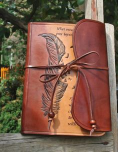 Leather Journal Hand Tooled and Hand Written, Custom Design