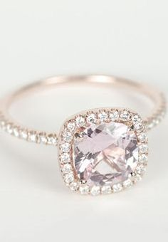 Peach Pink Cushion Sapphire Diamond Halo Engagement Ring..white gold though. Peach and champagne colored diamonds are to die for!