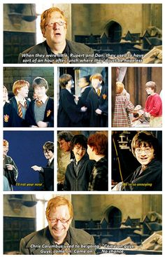 "Harry Potter: ""When they were little, Rupert and Dan, they used to have sort of an hour after lunch where they'd just be hopeless."" (click for gif)"