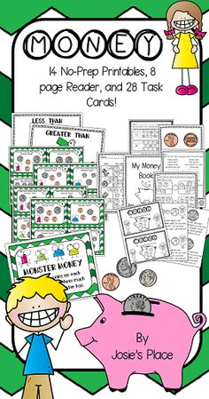 *MONEY* No Prep printables, reader, anchor charts, and task cards to learn all about the value of coins and to practice the skill of counting money.  1-3