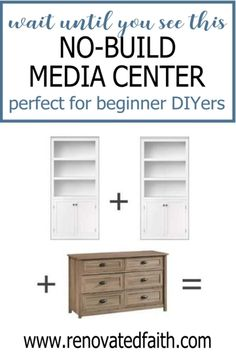 Here is a budget-friendly tutorial for a DIY Entertainment Center with bookshelves and a dresser. Plans for how to make a custom entertainment center with bookshelves without building a thing! This easy diy media center hack cheap and works with any décor – farmhouse, modern, coastal, etc. Included is how to paint a laminate entertainment center with drawers/shelves and color ideas Diy Wood Projects, Furniture Projects, Furniture Makeover, Diy Furniture, Cheap Entertainment Centers, Custom Entertainment Center, White Bookshelves, Bookcases, Diy Décoration