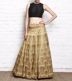 Golden Banarasi Brocade Lehenga With Black Silk Crop Top