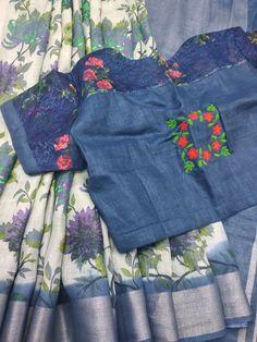 Pure linen saree with designer blouse whatsapp 9047090885 Latest Saree Blouse, Cotton Saree Blouse, Tussar Silk Saree, Saree Dress, Simple Blouse Designs, Blouse Designs Silk, Designer Blouse Patterns, Mirror Work Blouse, Indian Gowns Dresses