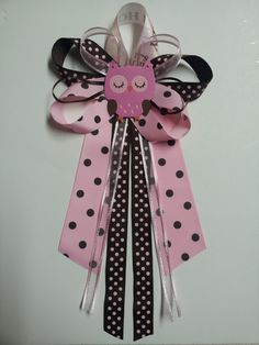 Pink and brown OWL baby shower pin/corsage by diapercake4less, $12.00