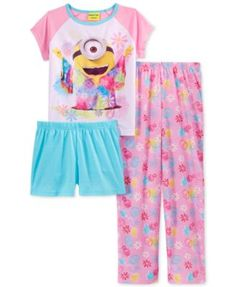 Add some Minion madness to her bed-wear with this three-piece pajama set from Ame, featuring shorts, elastic waistband pants, and a short-sleeve shirt with an adorable Minion print design. | Top/short