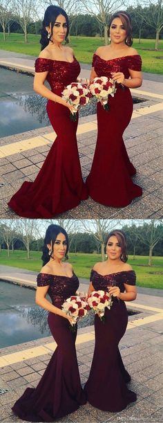 mermaid off shoulder prom party dresses, sparkle bridesmaid dresses, chic burgundy evening gowns, elegant wedding party dresses with sequins