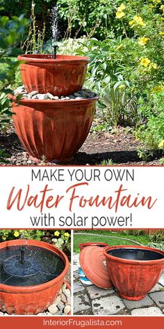 Solar Plant Pot Water Fountain In Under 15 Minutes - Plant Pot - Ideas of Plant Pot - Looking for a simple DIY Water Feature for your yard? Here I'm showing you how to repurpose plant pots into a solar water fountain in less than 15 minutes. Patio Fountain, Diy Water Fountain, Diy Garden Fountains, Water Garden, Solar Fountains, Fountain Ideas, Outdoor Fountains, Solar Outdoor Fountain, Homemade Water Fountains
