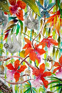 'Jungle Imaginings' close up I, Kate Morgan RI Studio, all works are ©KateMorganStudio and can not be reproduced in any form without consent of the artist. Textures Patterns, Print Patterns, Magical Jungle Johanna Basford, Graffiti Wall Art, Poster S, Tropical Art, Pattern Art, Flower Art, Watercolor Art