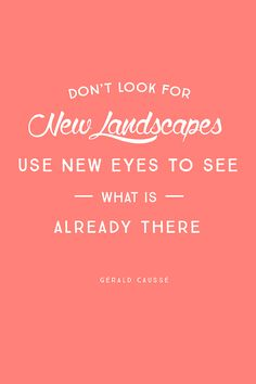 """""""Don't look for new landscapes, use new eyes to see what is already there."""" – Gérald Caussé"""