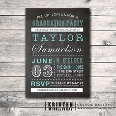 Graduation Party Chalkboard Invitation DIY by KristenMcGillivray, $15.00
