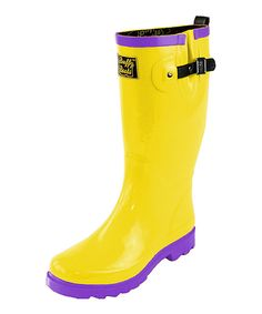 Look what I found on #zulily! Buffy Boots Yellow & Purple Grape Lemonade Rain Boot by Buffy Boots #zulilyfinds