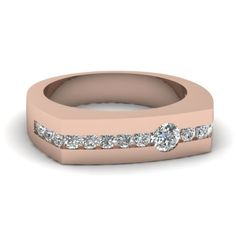 White Diamond Wedding In 18K Rose Gold | Arched Band Ring | Fascinating Diamonds