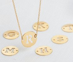 Gold disc necklace Charm necklace  Initial by HLcollection on Etsy