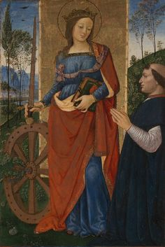 Saint Catherine of Alexandria with a Donor - Pinturicchio. The National Gallery, London, UK. Medieval Paintings, Renaissance Paintings, Catholic Art, Religious Art, Religious Paintings, St Catherine Of Alexandria, Saint Katherine, Italian Renaissance Art, National Gallery