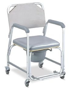 MedMobile Aluminum Portable Commode Shower Wheelchair With Toilet Style Seat and Cover ** Offer can be found by clicking the image