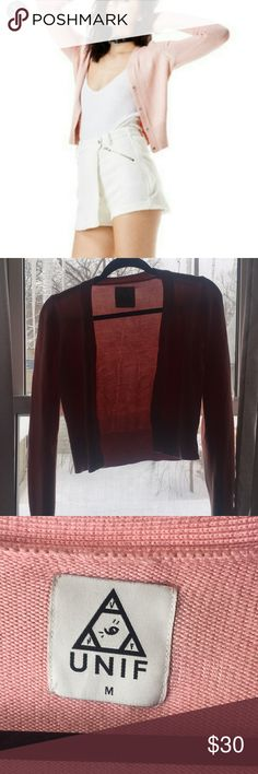 Unif Bev Cardigan It's close to perfect and barely worn. Size medium but would fit a size small better in my opinion. Open to trades for other unif UNIF Sweaters