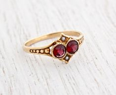 Antique Victorian Gold Garnet & Seed Pearl Ring - Size 6 Late Rosy Yellow Gold Fine Jewelry / Crimson Red, White I want this! Ruby Jewelry, Sapphire Jewelry, Fine Jewelry, Jewellery Box, Sapphire Rings, Aquamarine Rings, Diamond Jewelry, Gold Jewelry, Jewlery