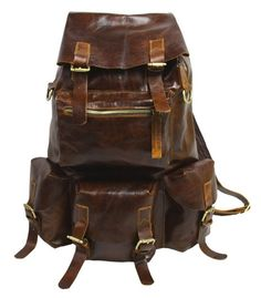 Large Handmade Superior Cow Leather Backpack Travel Bag #n42 - Thumbnail 1