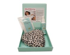 Heart+Warming+Pillow+Gift+Set Our NEW Heart Warming Pillow Gift Set contains a Heart shaped Leopard Print Warming Pillow (embroidered), Anti-Stress Spa Salt (4 oz) and an Anti-Stress Mist packaged in elegant aqua gift box with magnetic enclosure.